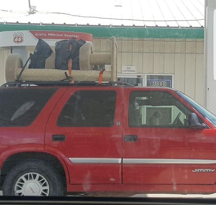Saw This Cat Fueling Up Off Of The Interstate. They've Clearly Got The Essentials, And Are Not Looking Back