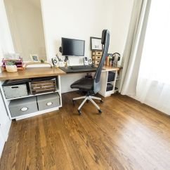 Living Room Desk Wall Units For Small Here S How I Turned Our Formal Into A Home Office While The Walls Are Not Insulated Thick Glass And Strips Underneath Doors Isolate Plenty Purposes
