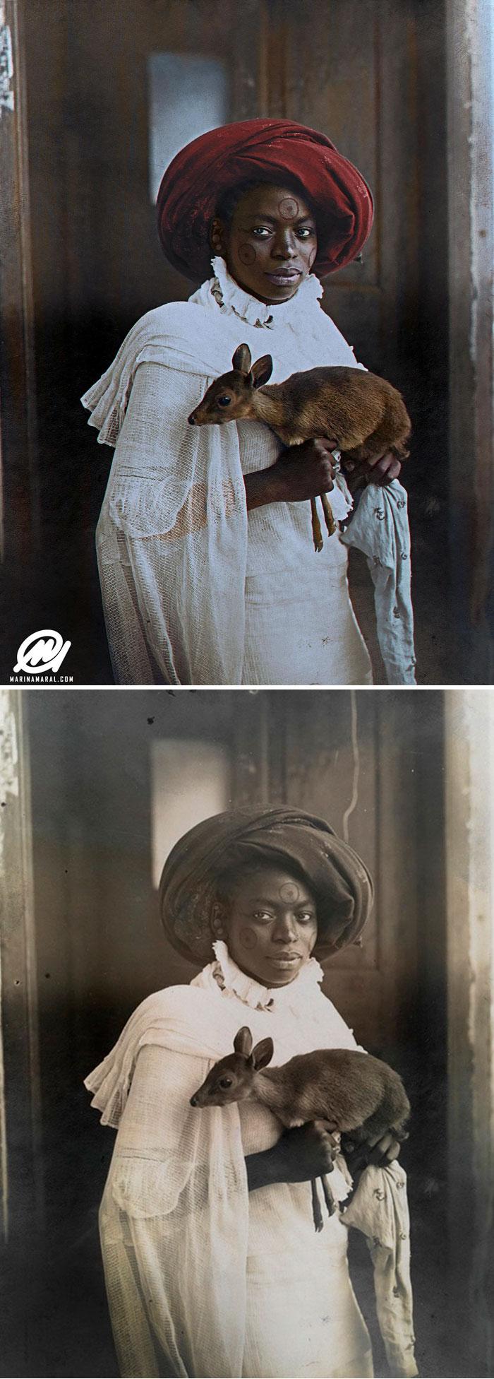 Joven keniata sosteniendo un Dik-Dik, Mombasa, 1909 [19659003] fuente </p data-recalc-dims=