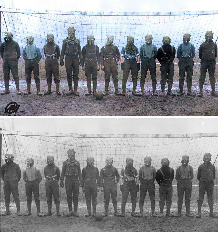 Equipo de fútbol de soldados británicos de la Primera Guerra Mundial con máscaras antigás, Francia, 1916
