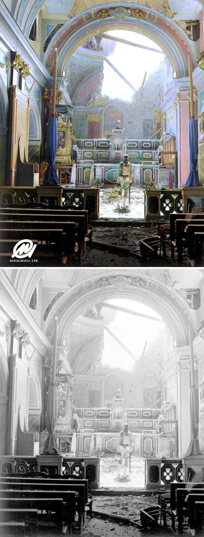 Soldado Paul Oglesby, 30º de Infantería, Detenido Privado Paul Oglesby, 30º de Infantería, de pie en reverencia ante un altar en una iglesia católica dañada (Santa Maria Degli Angeli). Acerno, Italia, septiembre de 1943