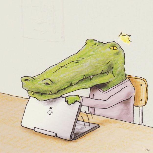 crocodile-life-animals-illustrations-keigo-japan-5-5b7a7ccd1c25b__700 20+ Problems Of A Crocodile Hilariously Illustrated By Japanese Artist Keigo Design Random