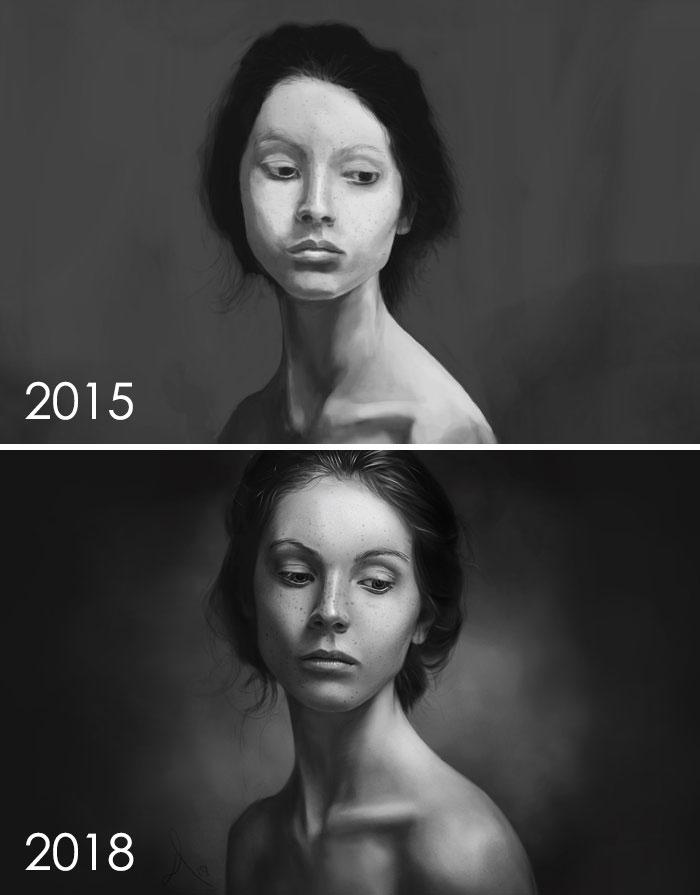 Han pasado exactamente tres años desde mi primer dibujo, así que decidí hacer este 'Dibujar esto otra vez' Challenege. No defraudado