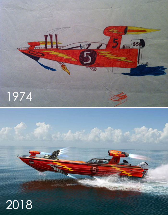 Encontré un viejo dibujo mío de cuando tenía siete años de mi lancha rápida Baller: una mezcla híbrida de combustible superior Dragster, Funny Car, bote de carreras, aviones tácticos y lo que sea El infierno, lo que yo quería. Luego hice una versión para adultos para homenajear a la fuente original