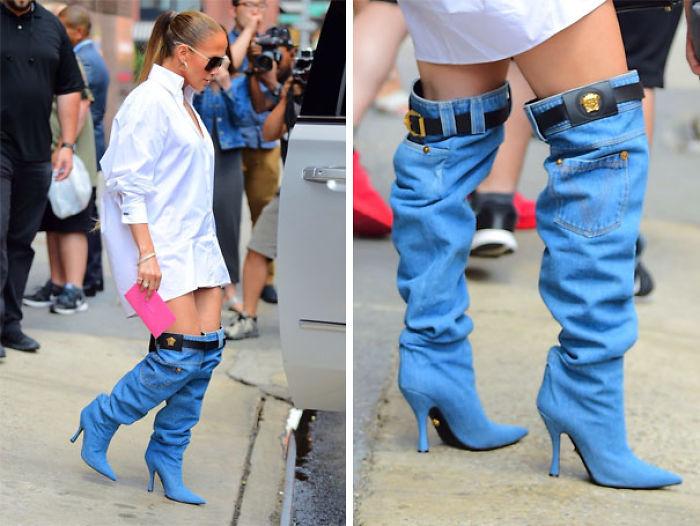 Jennifer Lopez Nosotros Aring Versace Denim Boots