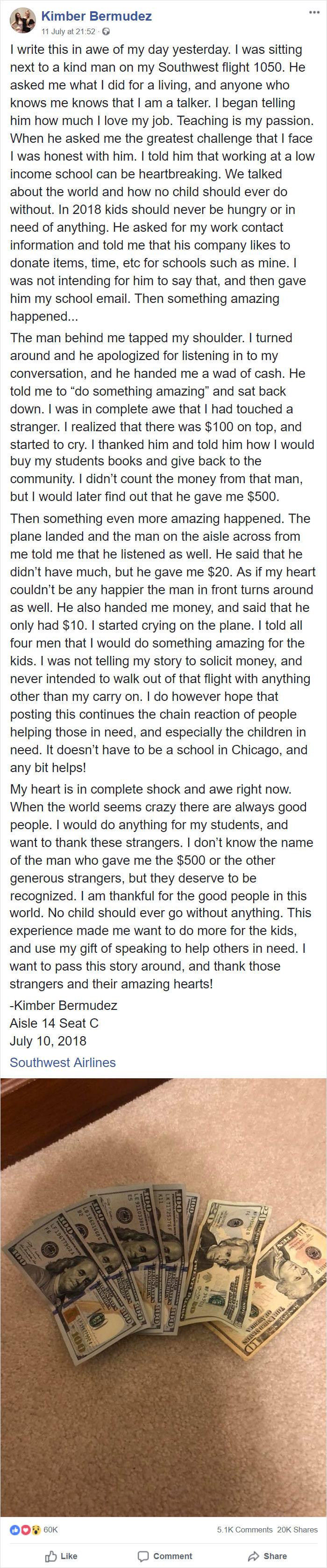 Esta maestra en un avión habló sobre sus estudiantes de bajos ingresos. Pasajeros oyeron y le dieron más de $ 500 en efectivo