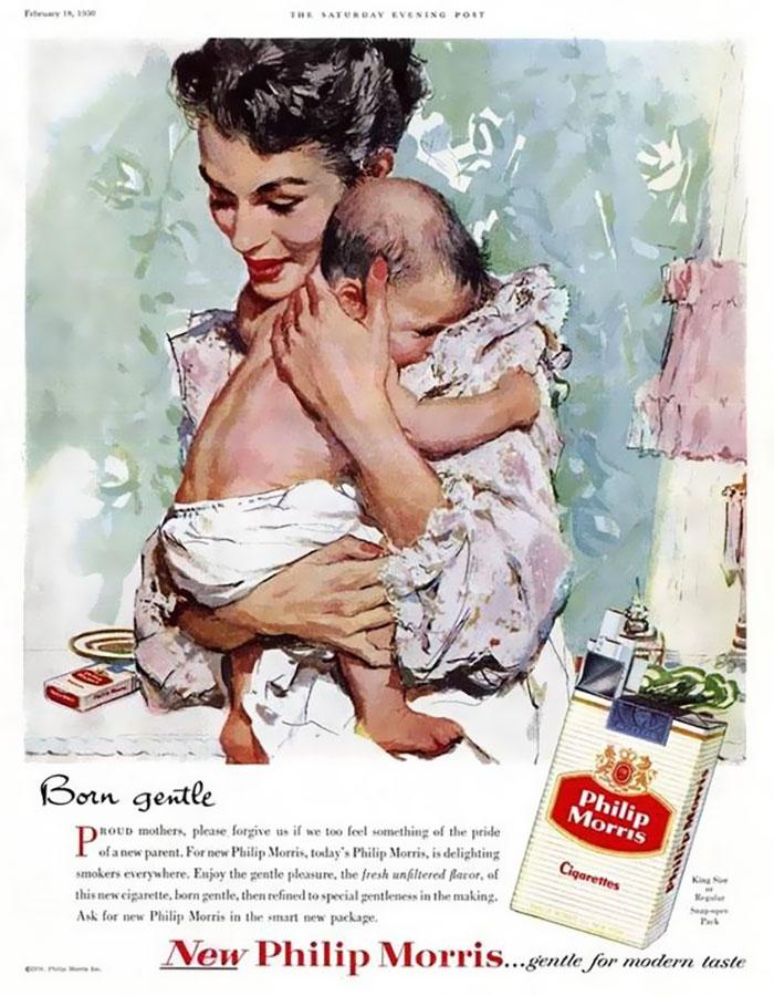 Mulheres que acabaram de dar à luz não foram proibidas de fumar no hospital.  Anúncio dos anos 1940