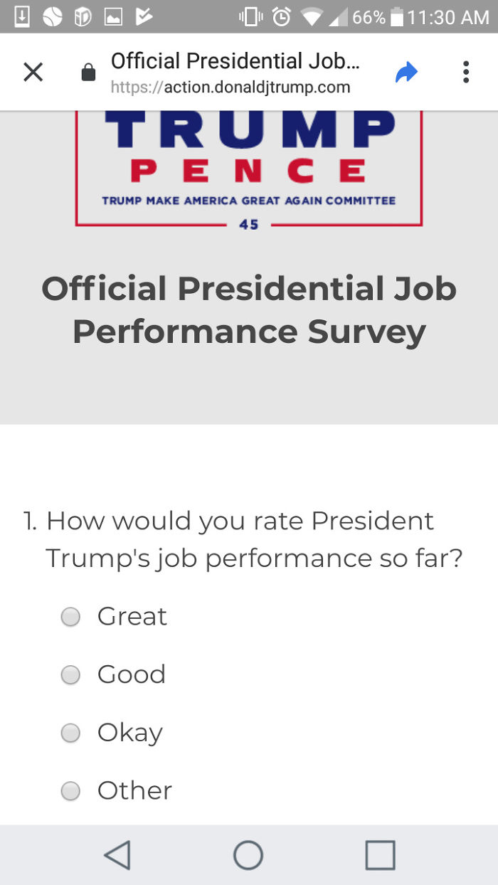Trump's Official Survey Doesn't Include Any Negative Response Options