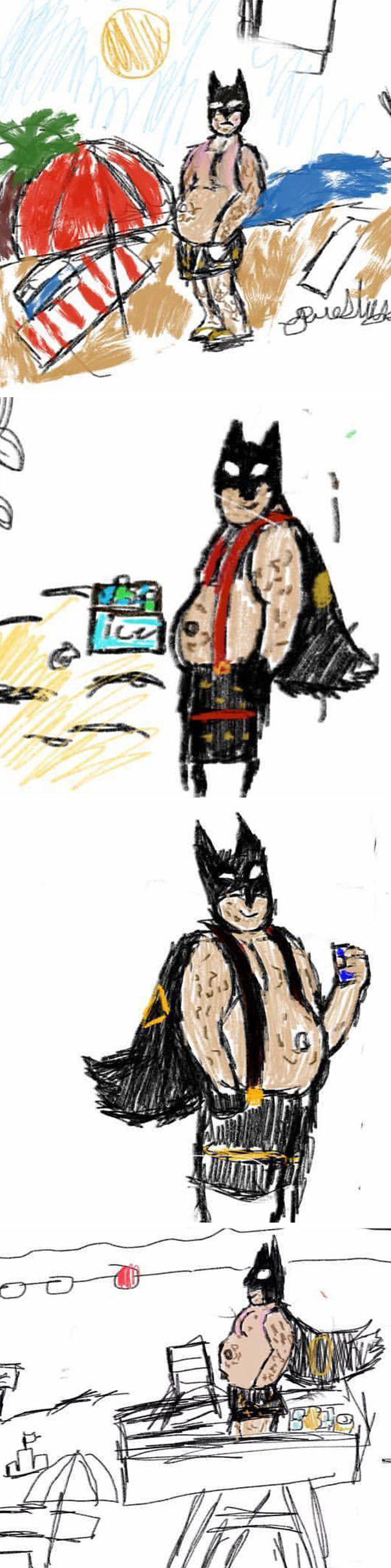 My 11-Year-Old Has Started Drawing Fat, Middle Aged Batman At The Beach And It's Everything You Never Knew You Needed In Life