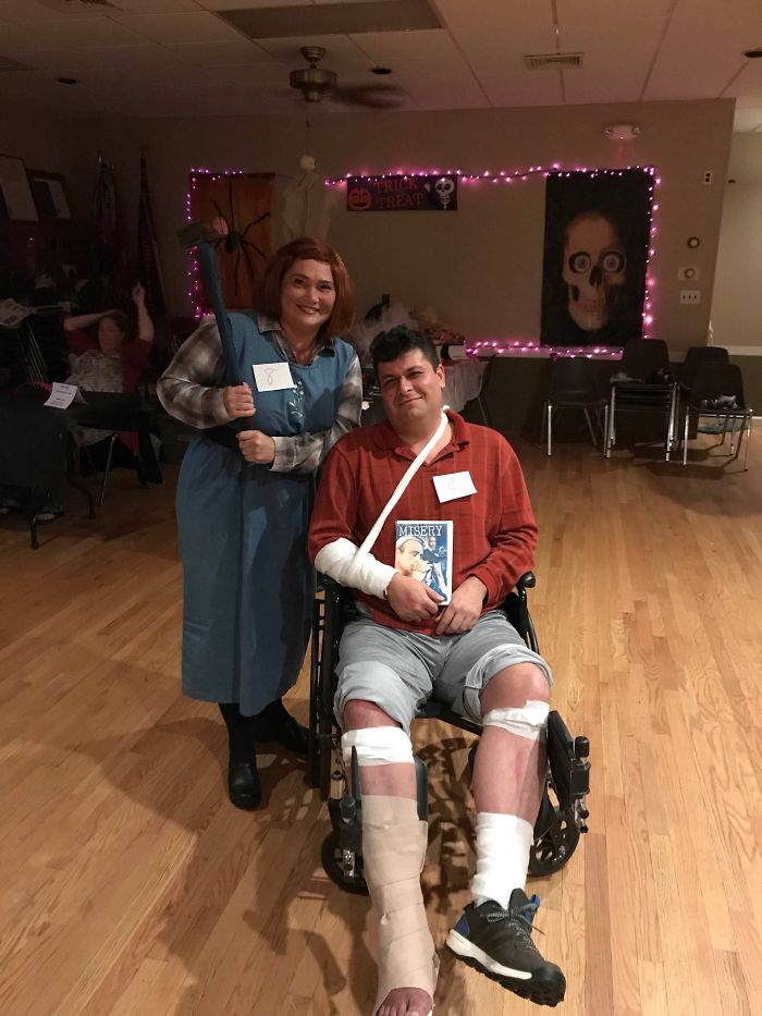 My Mom And Her Boyfriend, He Broke His Foot And They Used It To Their Advantage For Halloween