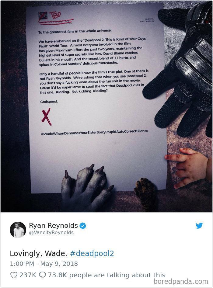 Él era tan malo en guardar secretos, el equipo de marketing de Deadpool tomó pasos adicionales para proteger la película