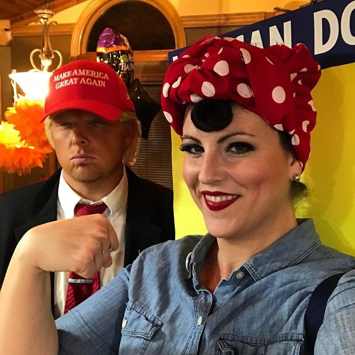 When Your Boyfriend Says He Is Going To Be Trump For Halloween, You Dress Up As Rosie The Riveter