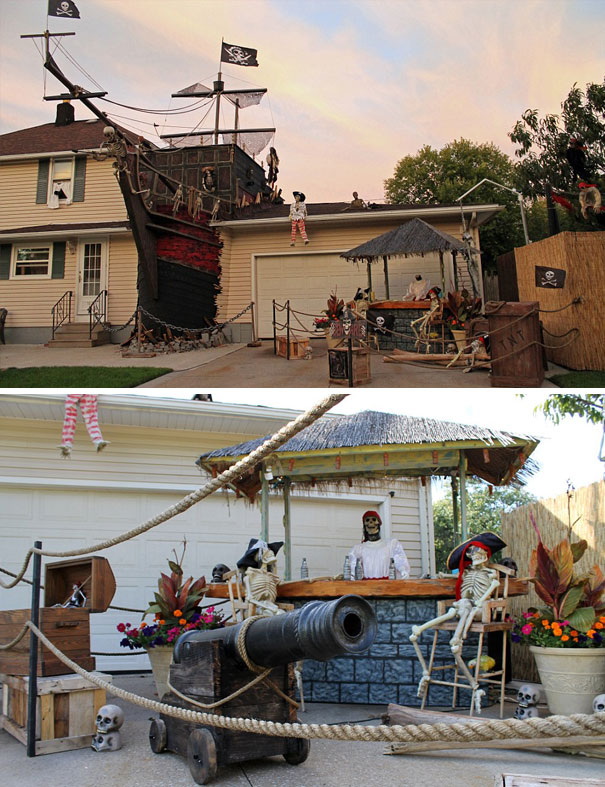 This House With Full-Size Pirate Ship Decoration