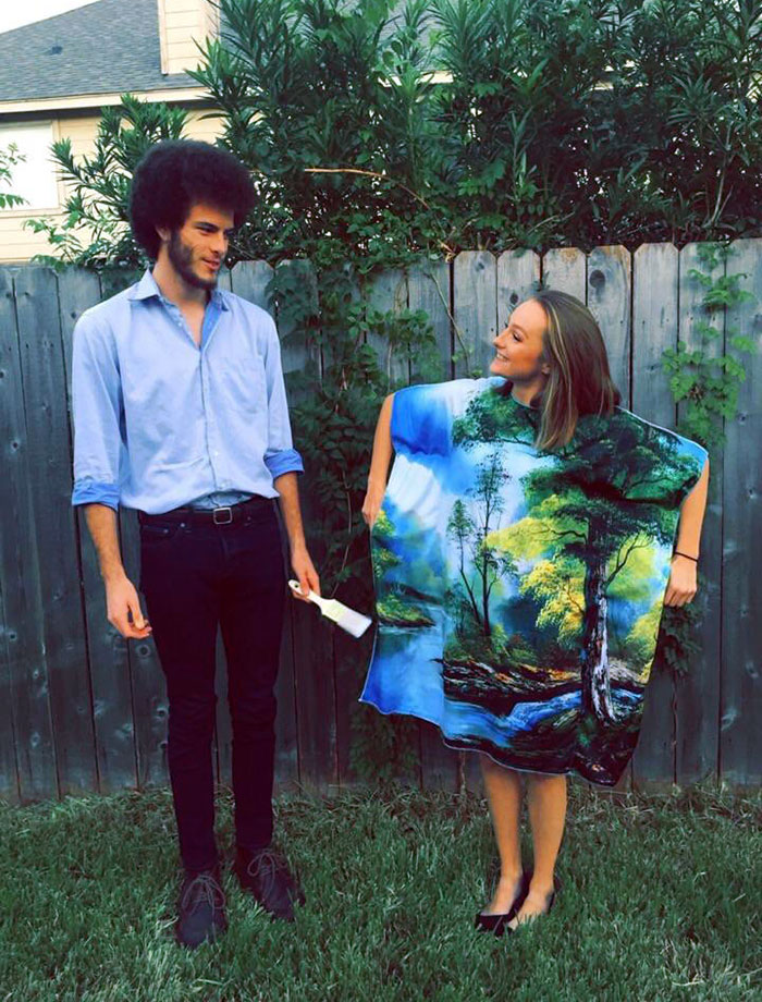 My Boyfriend And I Decided To Go As Bob Ross And His Painting For Halloween This Year. Yes, That's His Real Hair