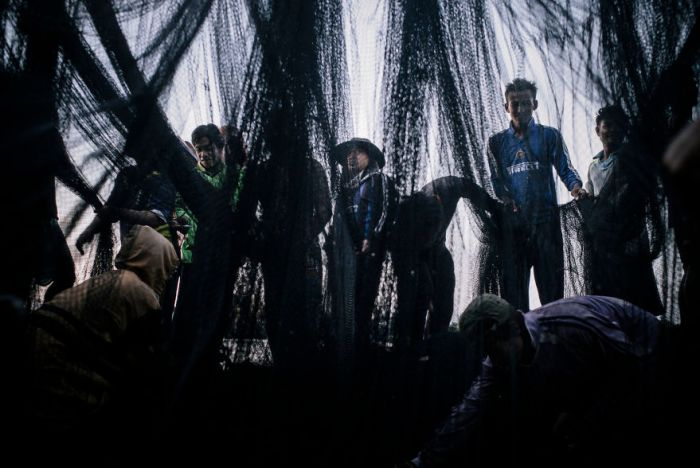 Burmese Illegal Migrants And Fishermen Cleaning Their Nets After Off-Loading The Previous Night's Catch At A Thai Fish Processing Factory