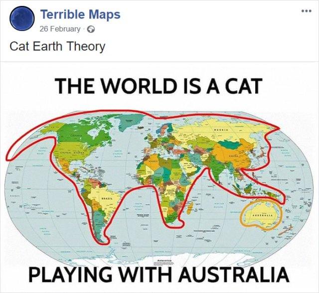El planeta es un gato jugando con Australia