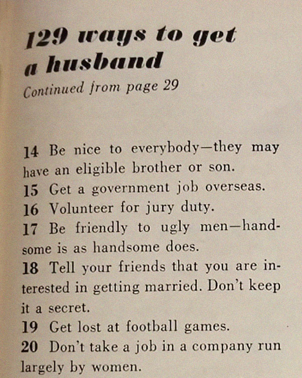 1image-5be14eb9e7e60__605 This '129 Ways to Get a Husband' Article From 1958 Shows How Much The World Has Changed Design entertainment Random