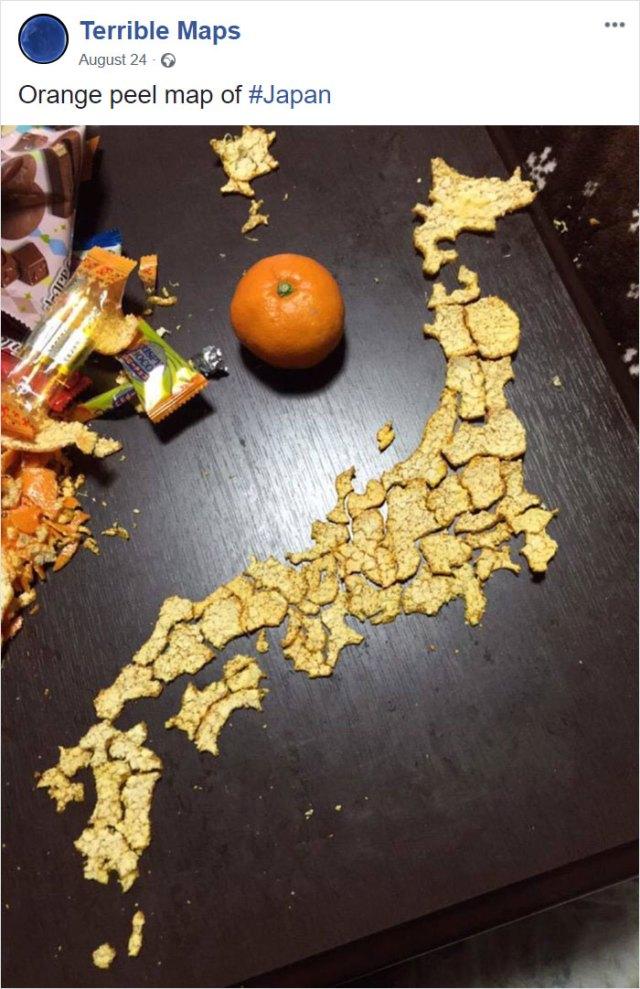 Mapa de Japón hecho con mondas de naranja