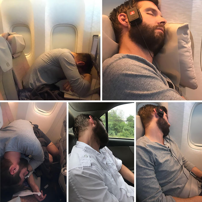 My Girlfriend Has Been Taking Pictures Of Me Sleeping When We Travel. She Surprised Me With This Today
