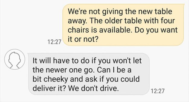 choosing-beggars-table-chairs-conversation-stooby2-5c0682fb38b84__700 Guy Who Offered An Old Table For Free Was Asked To Give A New One Instead, And Bring It 180 Miles Design Random