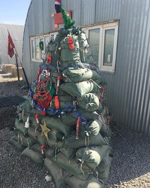 Festive Christmas Tree Out Of Sandbags