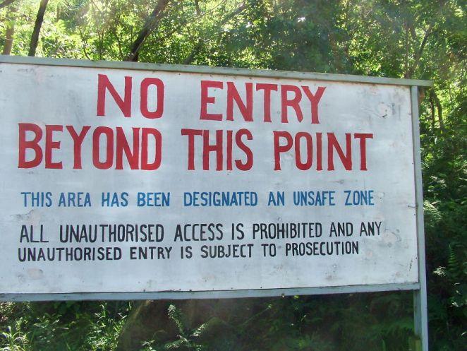 Forbidden Zone Warning Sign