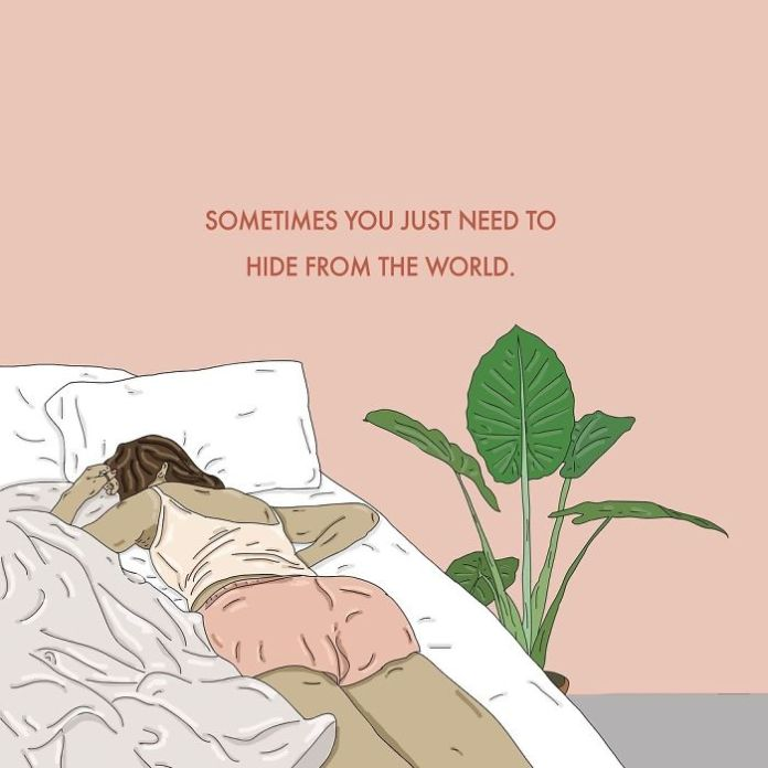 Do not feel ashamed about the feeling that you need the time to hide from the world - take the time you need to rest and recover ❤️. . . . . . #recipesforselflove #youarewonderful #rest #repair #hide #timeout #bodypositive #bodypositivity #instalove #break #selflove #selfcare #loveyourself #smashthepatriarchy #youareperfect #effyourbeautystandards #feminism #instagood #lifestyle #feminsta #feminist #zine #illustration #digital #drawing #design #graphic #art #love #yourself