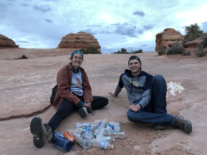 We Pulled A Bunch Of Plastics From The Bottom Of The Cliff At Delicate Arch!