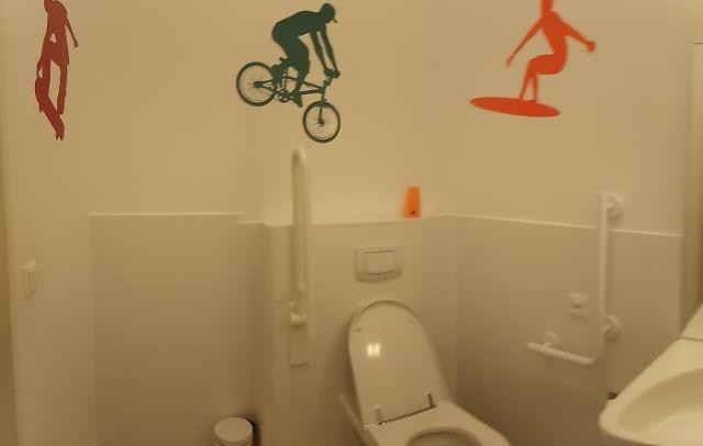 Hay que decorar el baño de discapacitados, pero...