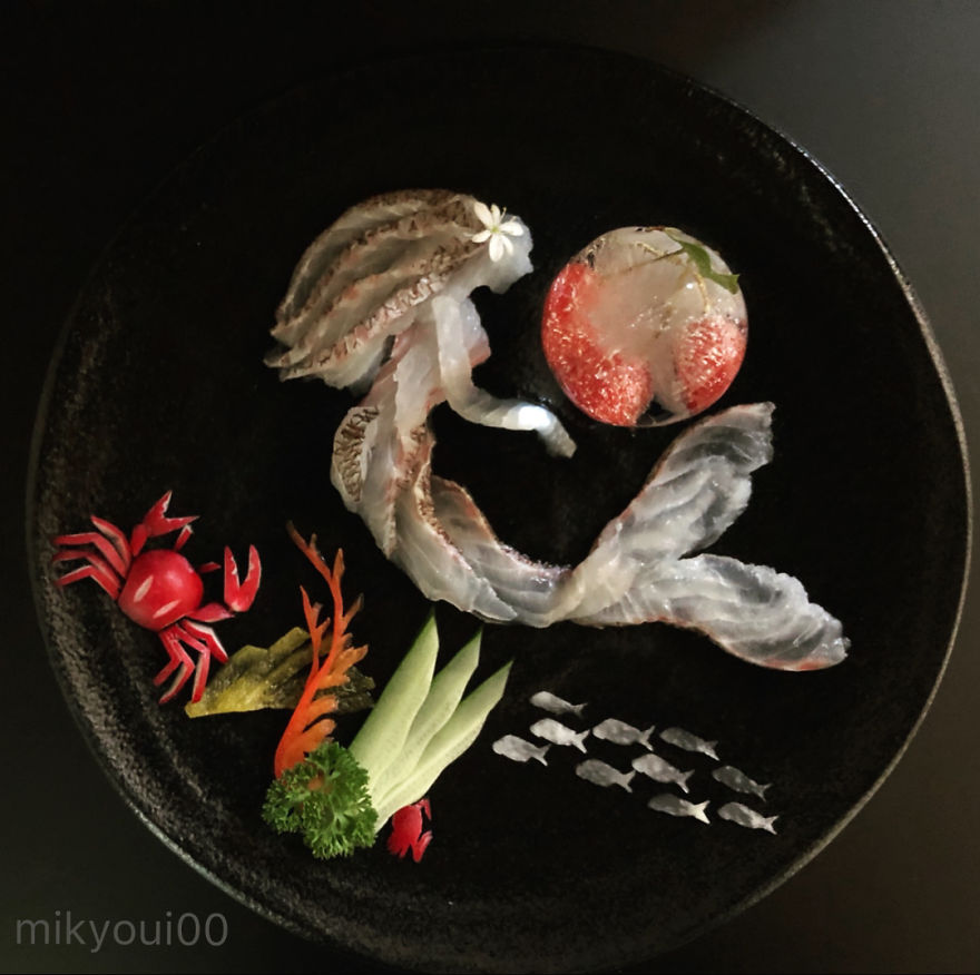 Sashimi Artist Designs Incredible Food Art From Raw Fish And