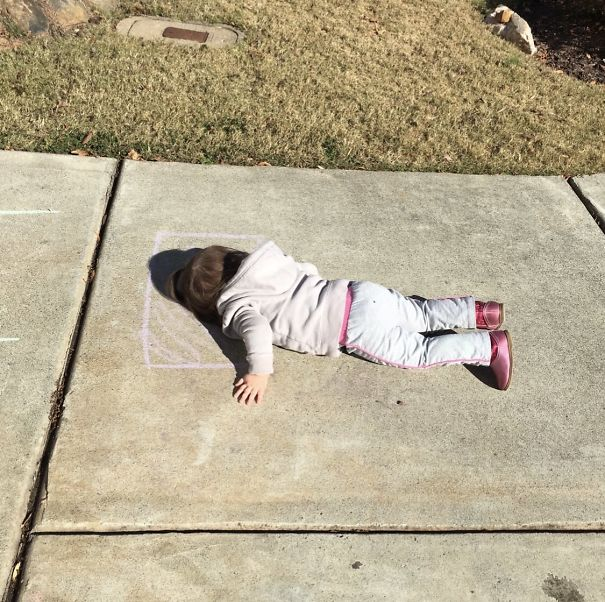 Imagination Level 100. My 2-Year-Old Daughter Drew A Pillow With Chalk, Then Lay Down For A Nap