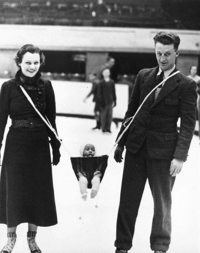 A Couple Ice Skating With Their Baby, 1937