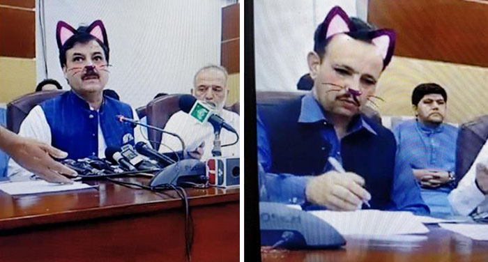 Pakistani Government Officials Accidentally Turn On Cat Filter During Facebook Live, Funny Reactions 1