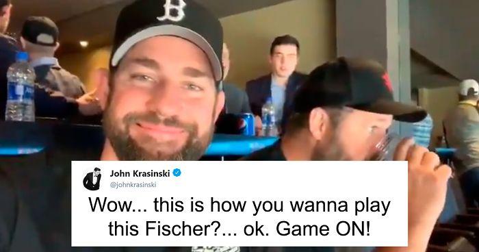 John Krasinski Trolls Jenna Fischer By Inviting Her On Screen Ex Fiance To A Stanley Cup