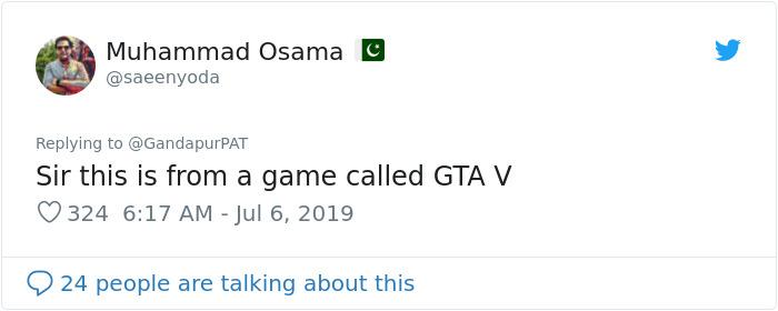 1147389086950395904 png  700 - Político paquistanês compartilhou um vídeo do GTA V pensando ser real