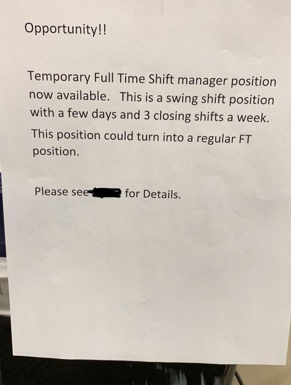 Shift Manager At My Work Was Just Diagnosed With Colon Cancer, Our Store Manager Put This Sign Out A Week Later