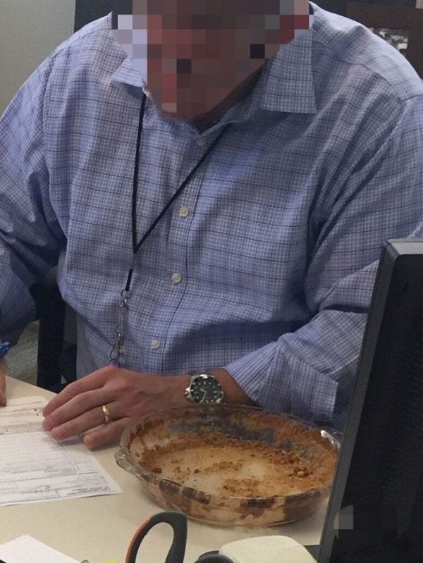 So I Bring A Pecan Pie To Work. By Noon It Was Missing. Found It A Few Hours Later In My Boss's Office