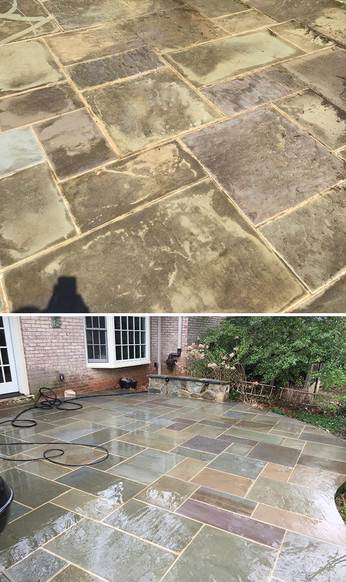 My Parents' Patio Hadn't Been Washed In Years. Got Around To Borrowing A Washer And Used One For The First Time