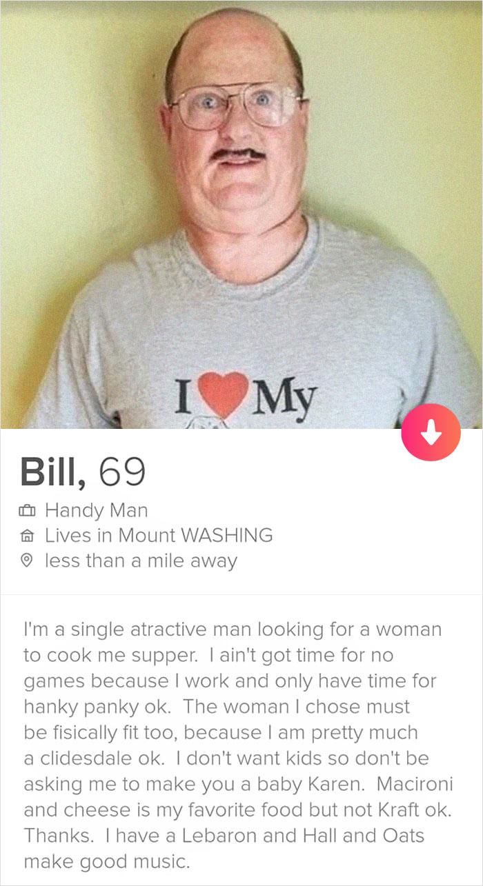 Hilarious Profile Pics : hilarious, profile, Handyman', Tinder, Profile, Someone, Posted, Hilarious, Message, Exchange, Bored, Panda