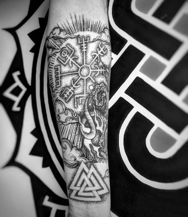 Started Making This Nautical/Norse Piece Into A Half Sleeve Today