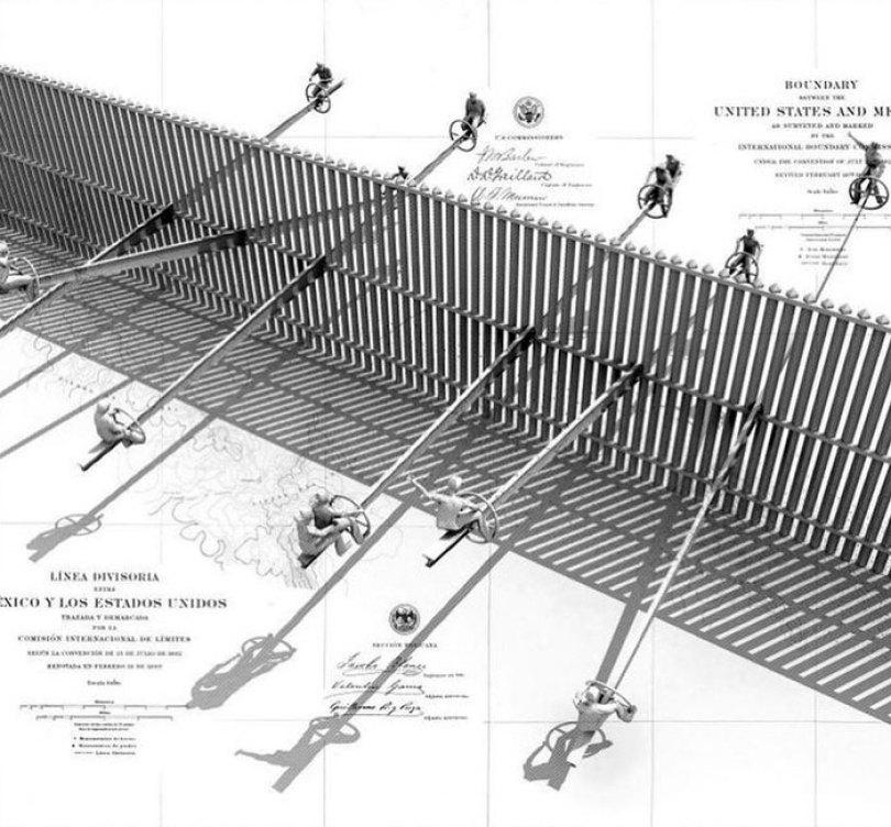 wall 5 - Crianças dos EUA e do México brincam juntas em gangorras na fronteira