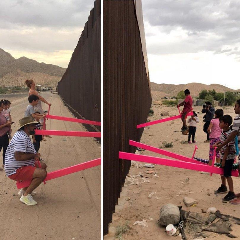 wall 7 5d4038eb62579  700 - Crianças dos EUA e do México brincam juntas em gangorras na fronteira
