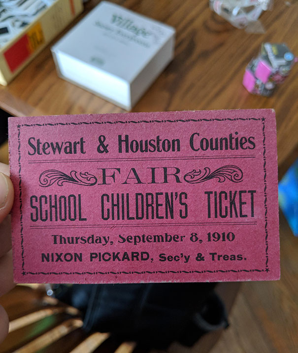 My Mother Found A 108-Year-Old Ticket To A Fair In An Old Book Being Used As A Bookmark