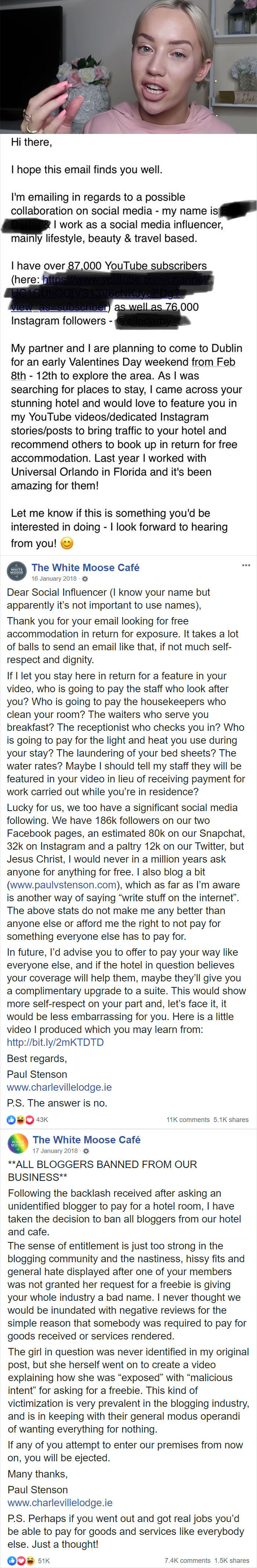 Influencer Tries To Get Accommodation For Free, They End Up Banning All Bloggers From Their Business