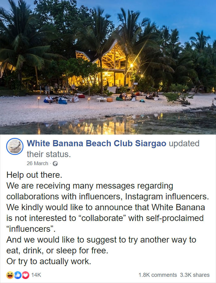 White Banana Beach Club Makes A Wild Suggestion To Influencers