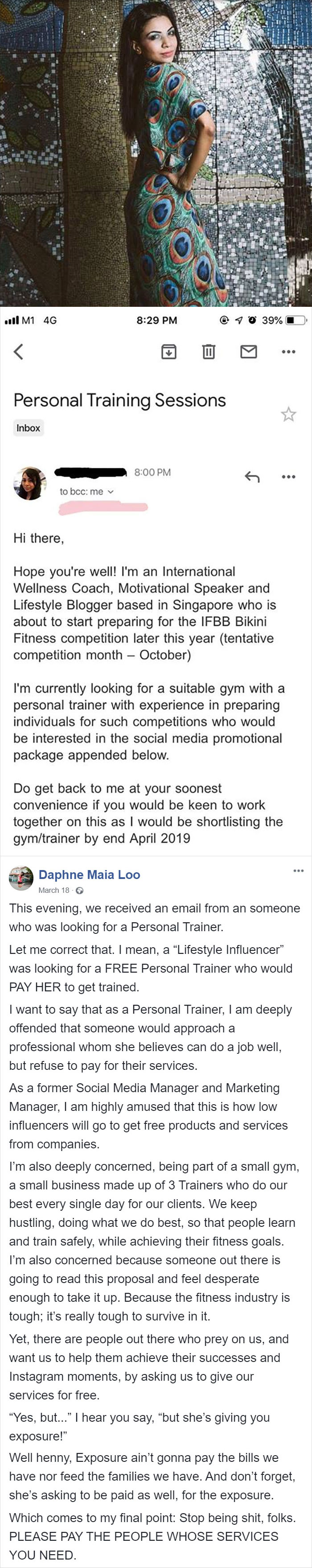 This Influencer Was Looking For A Personal Trainer That Would Pay Her For The 'Incredible' Opportunity Of Training Her