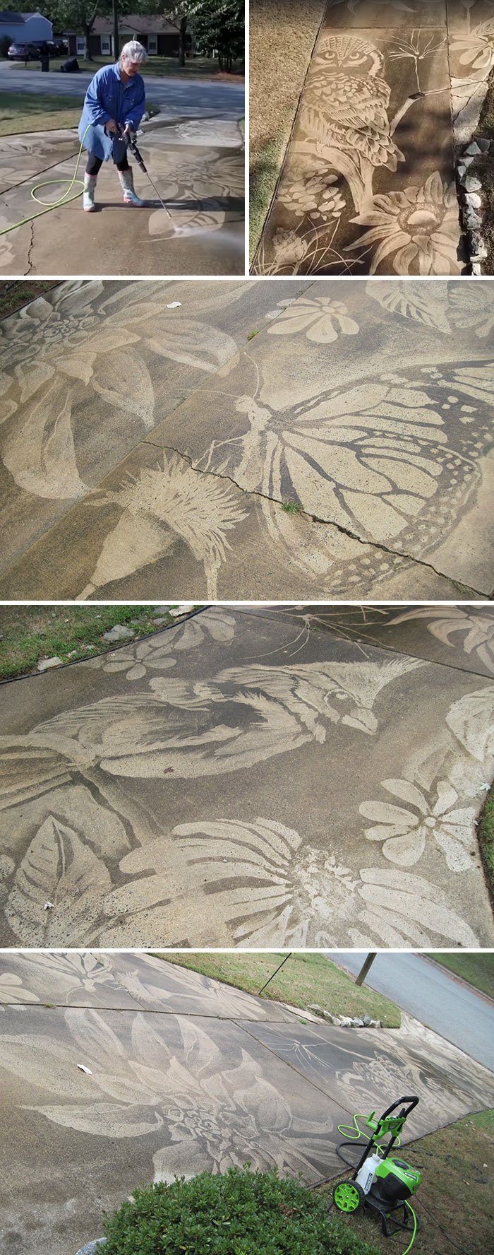 This Woman Uses The Power Washer She Got As A Birthday Gift To Unleash Her Creative Potential