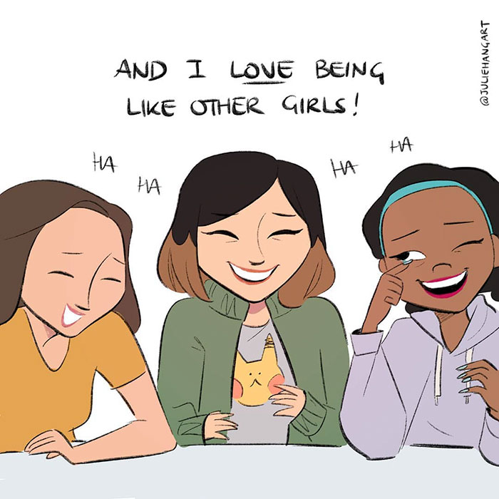 Three girls laughing together