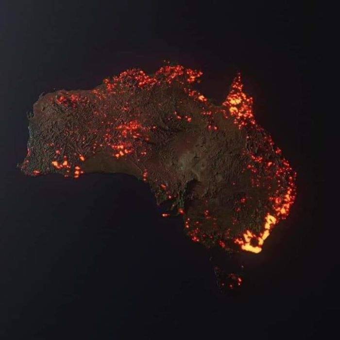 """3D """"Visualisation"""" Of The Fires In Australia, Made From Nasa Satellite Data"""