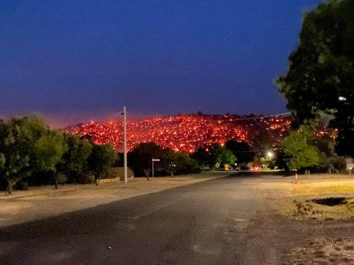 Australian Hillside Glows Like Lava After Being Consumed By Bushfire